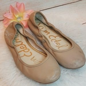 Sam Edelman Fritz nude soft leather ballet flats